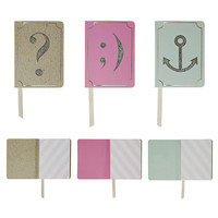 Question, Winky Face, and Anchor Blank Notebook Set in Silver Glitter