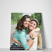 Sister Gift, Maid of Honor Gift, Best Friend Lyrics, Sister Vows Quotes, Best Friend Gift Idea, Custom Canvas Print