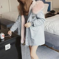 """""""Adidas"""" Women Casual Simple Fashion Long Sleeve Fur Collar Hooded Cotton-padded Clothes Coat"""