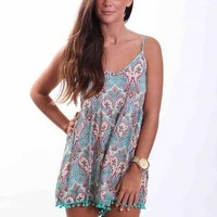Teal Paisley Print Sleeveless Playsuit with Crochet Hemline