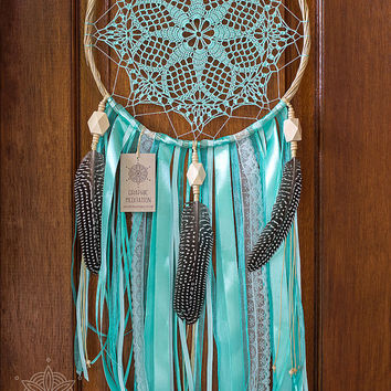 Large dream catcher wall hanging, Mint green dreamcatcher, Crochet doliy dream catcher, Unique kids room decor, Nursery boho dreamcatcher