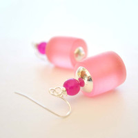 Pink Resin Earrings by bstrung on Etsy