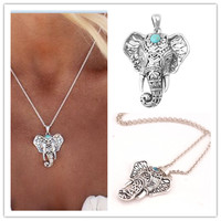 2016 New Fashion Summer Beach Jewelry Pendants Necklaces Silver Metal Turquoise Elephant Collier Ladies Necklace for Women