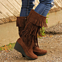 Layer Fringe Moccasin Boots