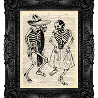 Jose Posada 3 Dio De Los Muertos - Dictionary Art Print Vintage Antique Upcycled Book Page no.278
