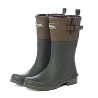 Women's Short Wellington Boots in Kelp and Khaki by Barbour