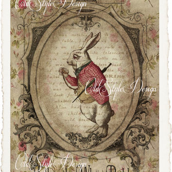ALICE in Wonderland Quote Art Print on Handmade Paper. Shabby Chic Decor. Vintage Style Alice Wall Art. Altered Book Illustration. Code:A007