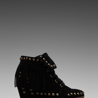 Ash Baba Fringe Wedge Bootie in Black from REVOLVEclothing.com