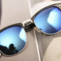 Blue Film Lens Reflective Sunglasses