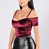Who's That Chick Velvet Top? - Burgundy