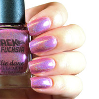 Back to the Fuchsia - Back to the Future inspired Holographic Pink Nail Polish/Topcoat - 11ml (Full Size)