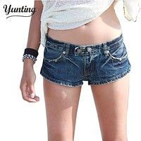 2017 women casual denim shorts low waist jean hot ladies denim female shorts solid blue Jeans hole Style shorts