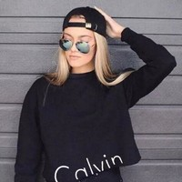 Calvin klein Long Sleeve Pullover Sweatshirt Top Sweater Grey