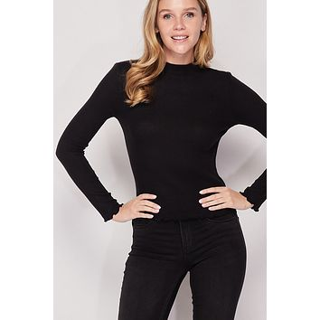 Ribbed Brushed Mock Neck Top