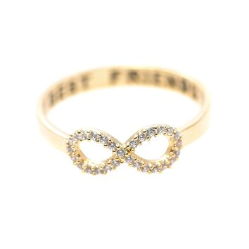 Handcrafted Best Friend Lettered Crystal Infinity Ring