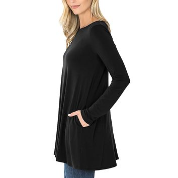 Loose Fit Long Sleeve Boat Neck Tunic Top with Pockets
