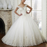 Vintage Lace Ball Gown Wedding Dress Off Shoulder Beaded Bridal Dresses 2016 Sweep Train Crystal Wedding Gowns