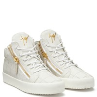 Giuseppe Zanotti Gz Kriss White Crocodile-embossed Leather Sneaker