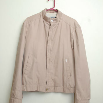 Vintage Christian Dior Zip Up Tan Colored Members Only Style Bomber Jacket Light Weight Unisex.