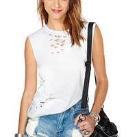 After Party Vintage Tumble Muscle Tee - White