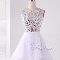 Short white beading homecoming dress,Knee length sequins beading homecoming dress,Short white prom dress,beading sexy Party dress
