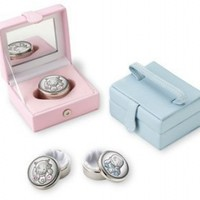 Beautiful SILVER PLATE FIRST TOOTH or CURL KEEPSAKE BOX for BABY BOY or GIRL. Made in ITALY (BLUE):Amazon:Baby