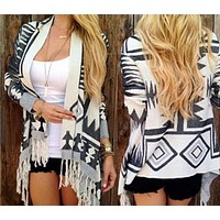 Fashion color irregular long sleeved sweater cardigan