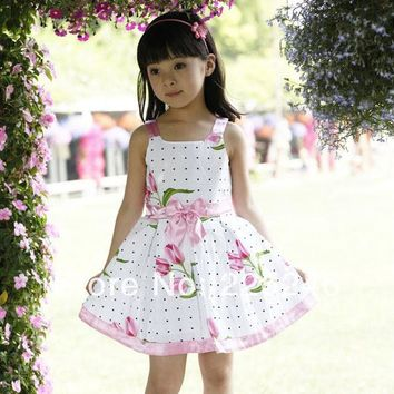 Girls dresses new fashion summer baby baby girl clothes kids flowers cotton dress clothes