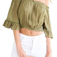 Green Off Shoulder Top With Bell Sleeves