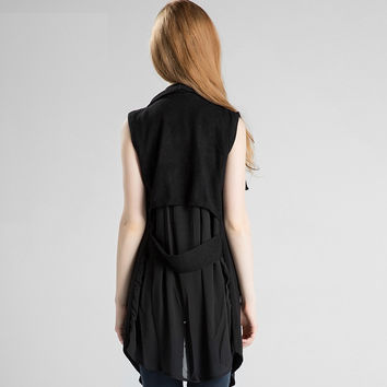 Knit Tops V-neck Sleeveless Jacket [9056518982]
