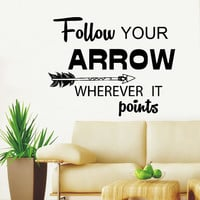 Wall Decals Quotes Follow Your Arrow Wherever it Points Arrow Quote Vinyl Sticker Decal Feather Arrows Hipster Bohemian Bedroom Decor AN712