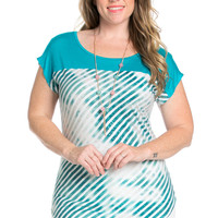 Plus Size Turquoise Tie Dye Stripes Shirt