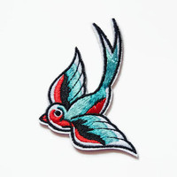 3 Swallow Patches - Iron On Patch Set Swallow - Patch Lover - Blue Birds Applique - Embroidered Birds - Sew On Patch - Glue On Patches Birds