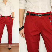 Red Pants Linen Trousers for Women
