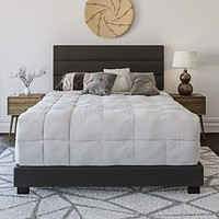 Boyd Sleep Montana Upholstered Platform Bed Frame Mattress Foundation with Tri-Panel Headboard and Strong Wood Slat Supports: Faux Leather, Black, Full Faux Leather, Tri-Panel