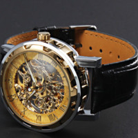 Classic Men's Gold Dial Skeleton Mechanical  Black Leather  Sport Army Wrist Watch