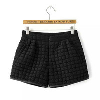 Black Patterned Leather Edge Zipper Shorts With  Pocket