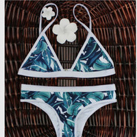 Leaf Print Adjustable Strap Two-Piece Swimsuit