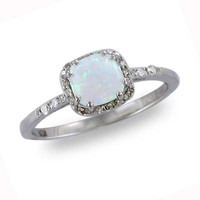 Cushion-Cut Lab-Created Opal and Diamond Accent Frame Ring in 14K White Gold - Clearance - Zales