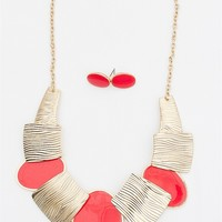 Brush With Greatness Tribal Enamel Etched Statement Necklace - Red