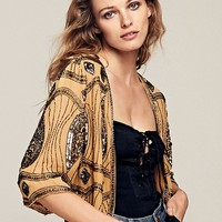 Free People Cropped Sequin Jacket