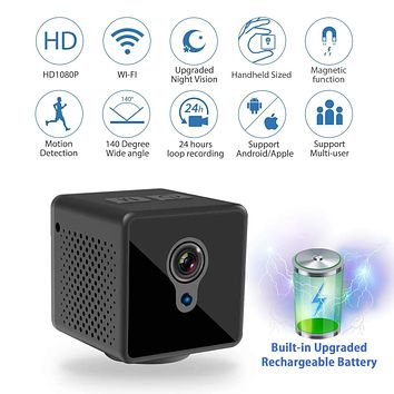 Relohas Mini Spy Hidden Camera, 1080P Spy Camera Wireless Hidden WiFi Upgraded Night Vision Spy Cam Live Streaming, Portable Nanny Cam with Motion Detection for Indoor/Outdoor (with Cell Phone APP)