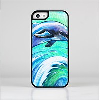 The Pastel Vibrant Blue Dolphin Skin-Sert for the Apple iPhone 5c Skin-Sert Case