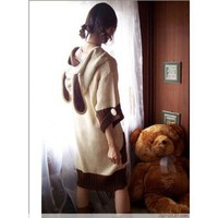 Beige Wool Blends Knitting Lady Cute Bunny Ears Middle Sleeve Long One Size Sweater @H4150be