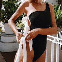 2020 women's new arrival sexy solid color one-shoulder strappy one-piece bikini