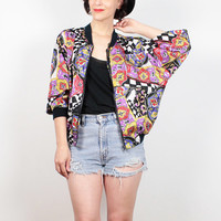 Vintage 90s Bomber Jacket Black White Rainbow Mod Op Art Print Windbreaker Jacket 1990s Hip Hop Track Jacket Warm Up Jacket S Small M Medium