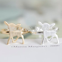 Min 1pc Hot sale cute animal gold silver rose-gold plated rings lovey deer ring tiny bambi ring jewelry JZ205