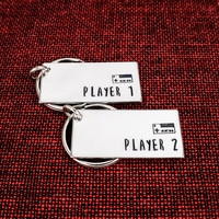 Player 1 and Player 2 Keychain Set - Nintendo - Gamer Couples - Video Games - Aluminum Key Chains