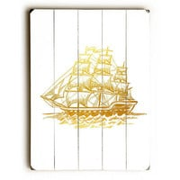 Faux Gold Pirate Ship by Lotus Leaf Collection Wood Sign