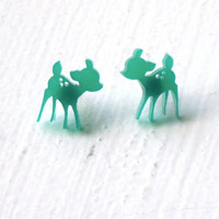 Cute Deer Studs : Green Candy Kawaii Bambi